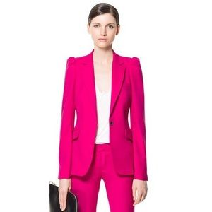 Zara Hot Pink Puffed Sleeves Blazer